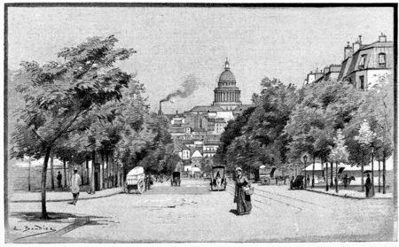 The Avenue Gobelins, vintage engraved illustration. Paris - Auguste VITU – 1890. Banco de Imagens