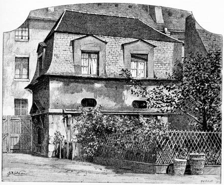 lodge: The former hunting lodge, vintage engraved illustration. Paris - Auguste VITU – 1890. Stock Photo