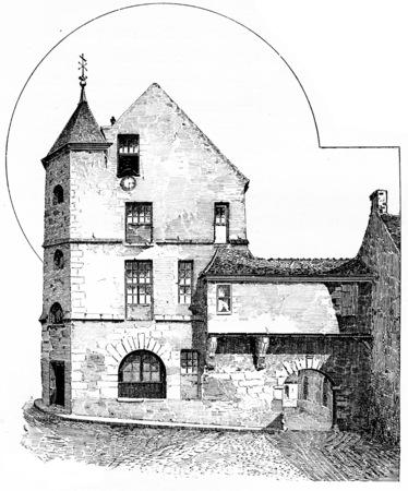 building: The hotel of No. 17 rue des Gobelins, vintage engraved illustration. Paris - Auguste VITU – 1890. Stock Photo