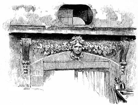 lodge: Sculpture of the former hunting lodge, vintage engraved illustration. Paris - Auguste VITU – 1890. Stock Photo