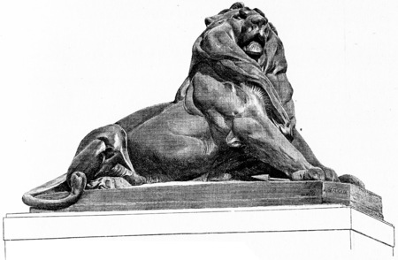belfort: The Lion of Belfort, vintage engraved illustration. Paris - Auguste VITU – 1890.