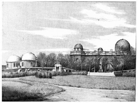 The grounds of the Observatory on the Boulevard Arago, vintage engraved illustration. Paris - Auguste VITU – 1890. Stock fotó