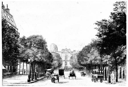 observatory: Entrance to the Observatory Avenue, vintage engraved illustration. Paris - Auguste VITU – 1890. Stock Photo
