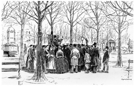wandering: On the place of the Observatory wandering singers, vintage engraved illustration. Paris - Auguste VITU – 1890. Stock Photo