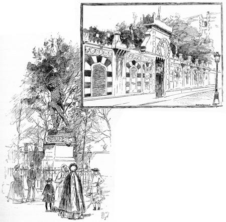 the marshal: Statue of Marshal Ney. Bullier entrance, vintage engraved illustration. Paris - Auguste VITU – 1890.