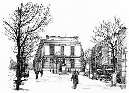 dessin noir et blanc: Les nouveaux b�timents de la Facult� de m�decine entre le boulevard Saint-Germain et de la rue de la m�decine scolaire de, illustration vintage grav�. Paris - Auguste VITU - 1890.