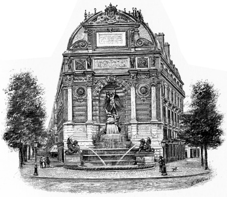 Fontaine Saint-Michel, vintage engraved illustration. Paris - Auguste VITU – 1890.