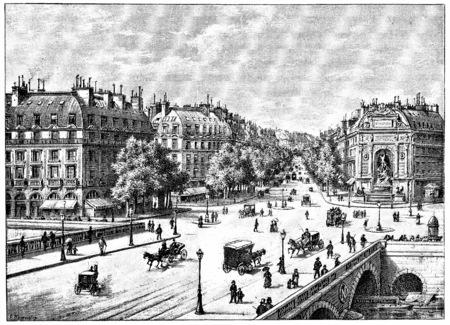 boulevard: The bridge, the square and the boulevard Saint-Michel, vintage engraved illustration. Paris - Auguste VITU – 1890.