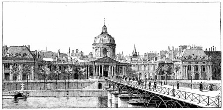 institute: The palace of the Institute and the bridge of Arts, vintage engraved illustration. Paris - Auguste VITU – 1890.