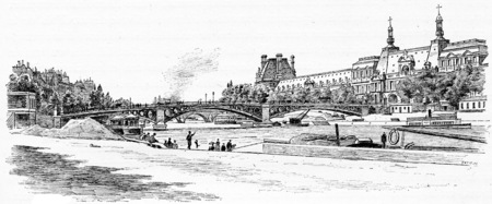 pont: The Pont du Carrousel and the Louvre seen from the dock Malaquais, vintage engraved illustration. Paris - Auguste VITU – 1890.