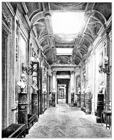 busts: Gallery of the busts in the Luxembourg Palace, vintage engraved illustration. Paris - Auguste VITU – 1890. Stock Photo