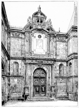 calvary: Facade of the former chapel of the Daughters of Calvary, vintage engraved illustration. Paris - Auguste VITU – 1890. Stock Photo