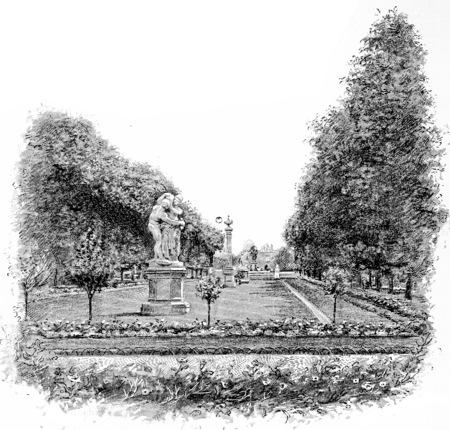 The main avenue leading to the Observatory, vintage engraved illustration. Paris - Auguste VITU – 1890. Banco de Imagens