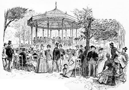 Militaire Muziek in de Jardin du Luxembourg, vintage gegraveerde illustratie. Parijs - Auguste VITU - 1890.
