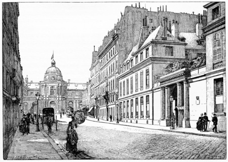barrack: Rue de Tournon and facade of the Palace of the Senate, Barracks of the Republican Guard, vintage engraved illustration. Paris - Auguste VITU – 1890. Stock Photo