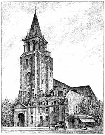 pres: The church of Saint-Germain des Pres, vintage engraved illustration. Paris - Auguste VITU – 1890. Stock Photo