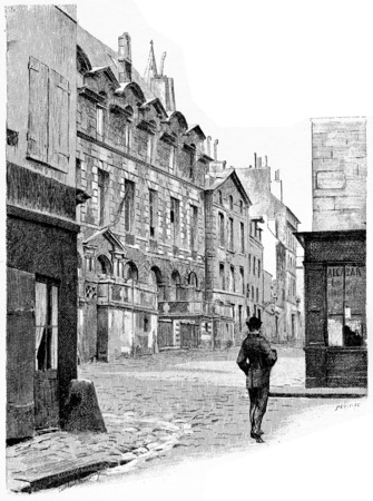 rue: The abbey palace of the rue de lAbbaye, vintage engraved illustration. Paris - Auguste VITU – 1890. Stock Photo