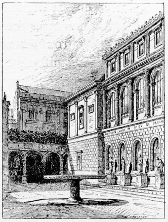 lodges: Basin of Saint-Denis and building lodges, vintage engraved illustration. Paris - Auguste VITU – 1890.