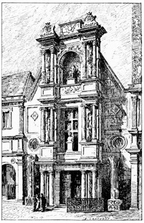アネ ポータル ヴィンテージには、図が刻まれています。パリ - オーギュスト ・ ヴィトゥ-1890年。
