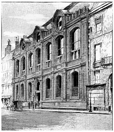 frontage: Frontage on the quay Malaquais, vintage engraved illustration. Paris - Auguste VITU – 1890.