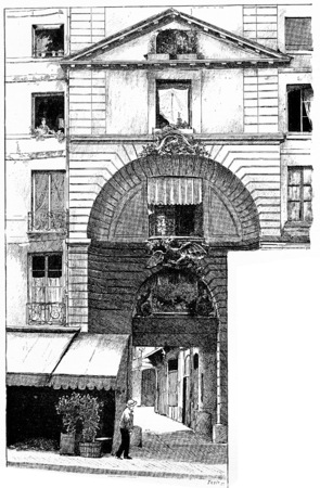 Entrance to the courtyard of the Dragon, vintage engraved illustration. Paris - Auguste VITU – 1890.