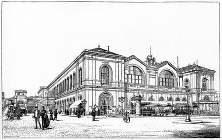 railway history: Gare Montparnasse (West, left bank), vintage engraved illustration. Paris - Auguste VITU – 1890.
