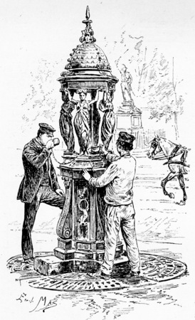 A Wallace fountain, vintage engraved illustration. Paris - Auguste VITU – 1890.