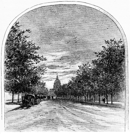boulevard: Boulevard of the Invalides seen from the rue de Sèvres, vintage engraved illustration. Paris - Auguste VITU – 1890. Stock Photo