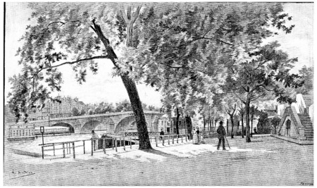 pont: The Pont-Royal seen from the right bank, near the baths Vigier, vintage engraved illustration. Paris - Auguste VITU – 1890. Stock Photo
