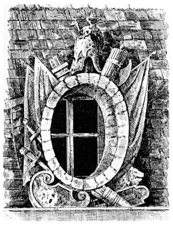 Window of the facade, vintage engraved illustration. Paris - Auguste VITU – 1890.