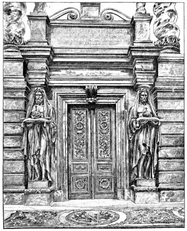 napoleon: Door of the tomb of Napoleon 1st, vintage engraved illustration. Paris - Auguste VITU – 1890.