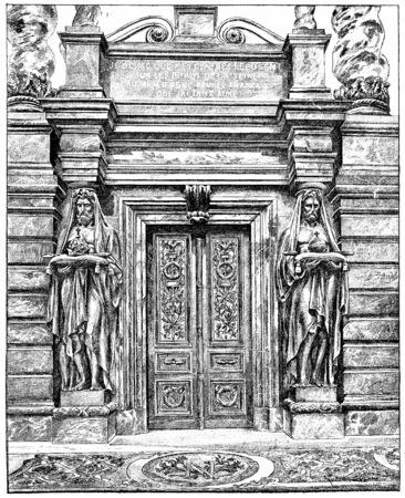 Door of the tomb of Napoleon 1st, vintage engraved illustration. Paris - Auguste VITU – 1890. Stock Photo
