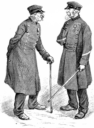 Two residents of The National Residence of the Invalids, vintage engraved illustration. Paris - Auguste VITU – 1890. Reklamní fotografie