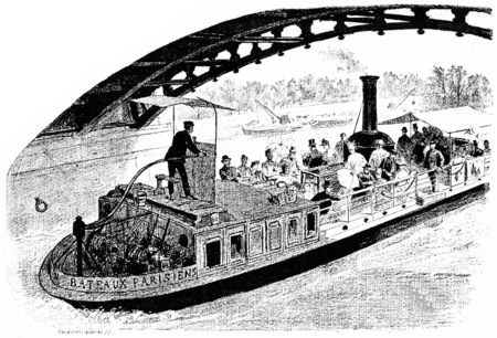 going down: Going down the Seine, vintage engraved illustration. Paris - Auguste VITU – 1890.