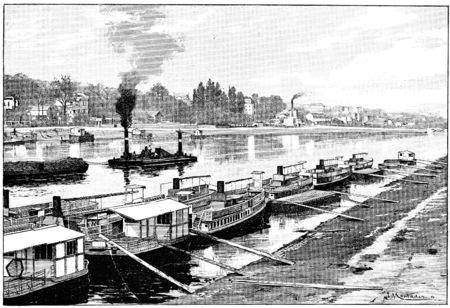 The flotilla of riverboats at Point du Jour, vintage engraved illustration. Paris - Auguste VITU – 1890.