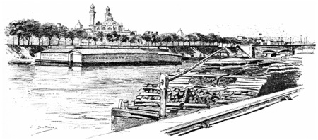 seine: The Seine at Grenelle and the Isle of Swans, vintage engraved illustration. Paris - Auguste VITU – 1890.