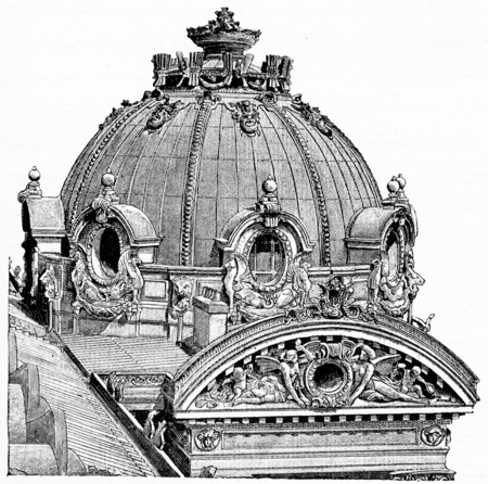 domes: One of the domes of the Opera (pavilion Rue Auber), vintage engraved illustration. Paris - Auguste VITU – 1890. Stock Photo