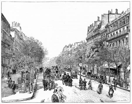 boulevard: Line the main boulevards (boulevard Poissoniere), vintage engraved illustration. Paris - Auguste VITU – 1890.