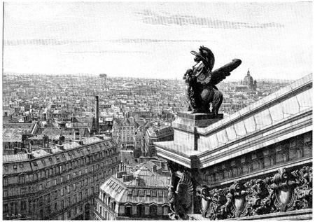 teatro antiguo: Vista al oeste de París, tomada desde la parte superior de la ópera, cosecha ilustración grabada. París - Auguste VITU - 1890.