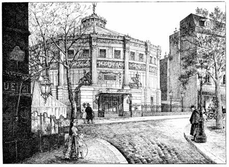 boulevard: Winter Circus, Boulevard des Filles-du-Calvaire, vintage engraved illustration. Paris - Auguste VITU – 1890.