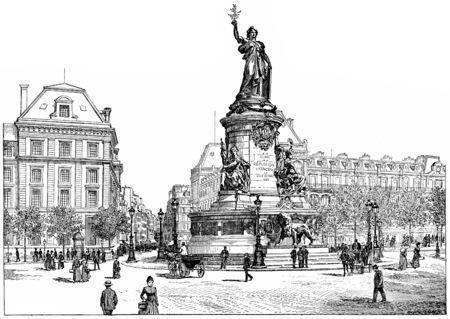 square shape: Republic Square, vintage engraved illustration. Paris - Auguste VITU – 1890.