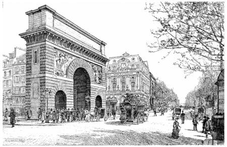 boulevard: Boulevard and Porte Saint-Martin, vintage engraved illustration. Paris - Auguste VITU %u2013 1890.