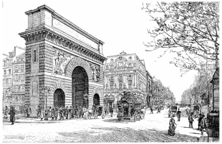 Boulevard and Porte Saint-Martin, vintage engraved illustration. Paris - Auguste VITU %u2013 1890.