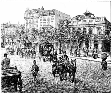 bonne: Boulevard Bonne Nouvelle and Theatre Mary Bell Gymnasium., vintage engraved illustration. Paris - Auguste VITU – 1890.