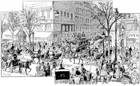montmartre: Crossroads of major boulevards and street Faubourg Montmartre, vintage engraved illustration. Paris - Auguste VITU – 1890. Stock Photo