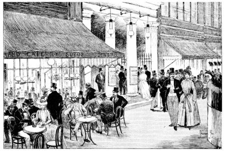 Enter the Theatre des Varietes on the boulevard, vintage engraved illustration. Paris - Auguste VITU – 1890. Stock Photo