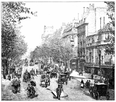 horse and carriage: Italian Boulevard, vintage engraved illustration. Paris - Auguste VITU – 1890.