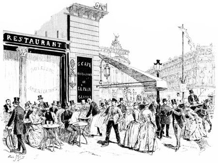 teatro antiguo: Los bulevares, la esquina de la Place de l'Opera, vintage, ilustración, grabado. París - Auguste VITU - 1890.