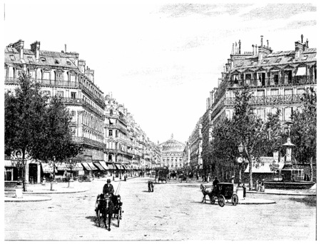 The Avenue de lOpera, the square of the French theater, vintage engraved illustration. Paris - Auguste VITU – 1890. Imagens