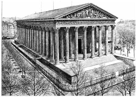 마들렌 교회, 빈티지 새겨진 그림. 파리 - 오귀스트 VITU - 1890.